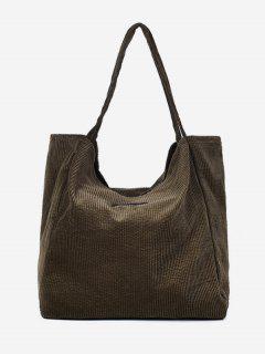 Corduroy Large Capacity Solid Color Shoulder Bag - Hazel Green