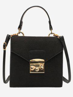 Suede Leather Decoration Cover Crossbody Bag - Black