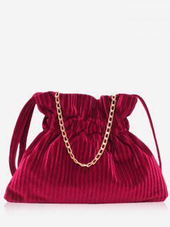 Corduroy Leather Bucket Shoulder Bag - Rose Red