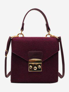 Suede Leather Decoration Cover Crossbody Bag - Red Wine