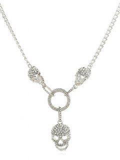 Hollow Skull Shape Artificial Crystal Necklace - Silver