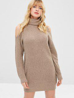 Turtleneck Cold Shoulder Jumper Dress - Tan