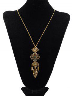 Floral Design Pendant Sweater Necklace - Gold