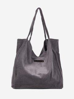 Corduroy Large Capacity Solid Color Shoulder Bag - Smokey Gray
