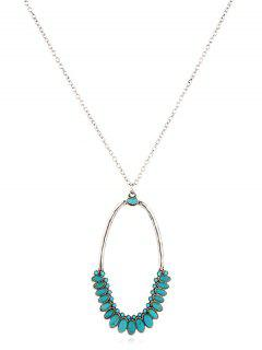 Turquoise Decor Geometric Sweater Necklace - Silver