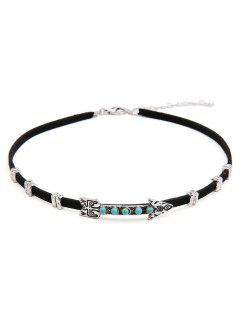 PU Leather Arrow Design Alloy Choker - Silver