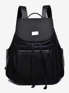 Nylon String Design Backpack - Black