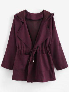 Manteau à Capuche à Manches Roulées à Cordon - Aubergine S