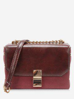 PU Hasp Design Link Chain Crossbody Bag - Red Wine