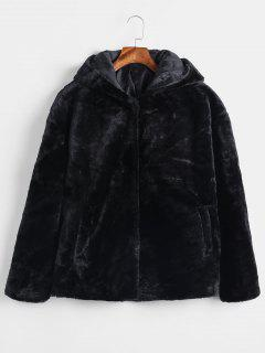 Snap Button Hooded Faux Fur Coat - Black M