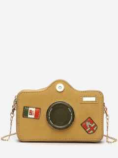 Camera Pattern Fluffy Link Chain Crossbody Bag - Light Khaki