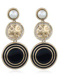 Faux Pearl Geometric Design Earrings - Black