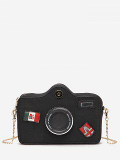 Camera Pattern Fluffy Link Chain Crossbody Bag - Black
