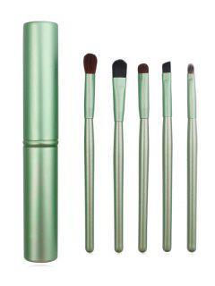 5 Pcs Fiber Hair Eyeshadow Blending Brush Set Brush Cylinder - Mint Green