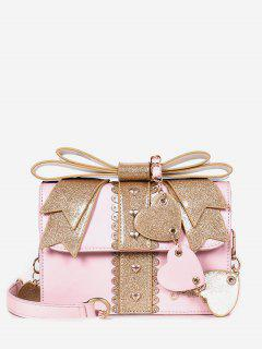 Bowknot And Heart Decoration Handbag - Light Pink