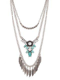 Rhinestone Inlaid Alloy Multilayered Necklace - Silver