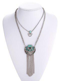 Turquoise Inlaid Tassel Chain Necklace - Silver