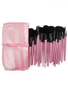 32 Pcs Pink Handles Ultra Soft Makeup Brush Collection With Brush Bag - Pink