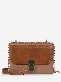 PU Hasp Design Link Chain Crossbody Bag - Brown
