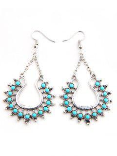 Faux Turquoise Decor Geometric Earrings - Silver