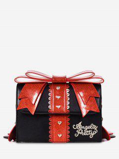 Bowknot And Heart Decoration Handbag - Black