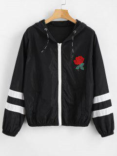 Stripes Rose Embroidered Windbreaker Jacket - Black M