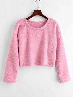 Drop Shoulder Fluffy Sweatshirt - Pink S