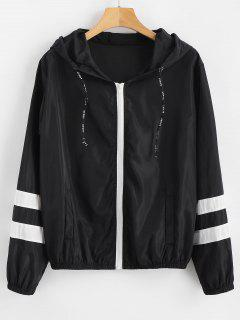 Stripes Zip Up Hooded Windbreaker Jacket - Black L