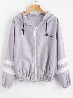 Stripes Zip Up Hooded Windbreaker Jacket - Light Gray M