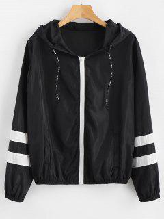 Stripes Zip Up Hooded Windbreaker Jacket - Black S