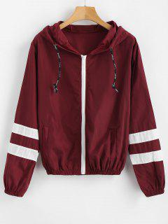 Stripes Zip Up Hooded Windbreaker Jacket - Red Wine M