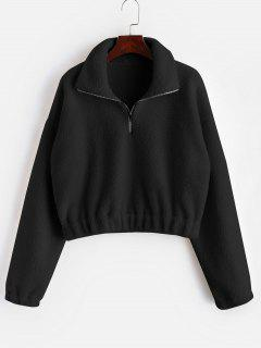 Half Zip Plain Faux Fur Sweatshirt - Black M