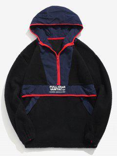 Half Zip Fuzzy Hooded Sweatshirt - Black L