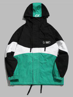 Color Block Drawstring Hoodie Jacket - Greenish Blue L