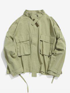 Belt Embellished Loose Jacket - Avocado Green M
