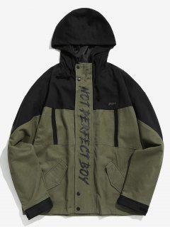 Printed Color Block Hoodie Jacket - Army Green M