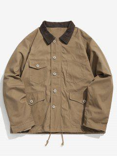 Raglan Sleeve Multi Pockets Jacket - Light Khaki 2xl
