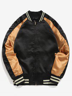 Embroidery Raglan Sleeve Jacket - Black M