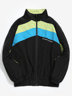 Hit Color Splicing Windproof Jacket - Black Xl