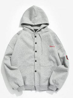 Solid Color Embroidery Hooded Jacket - Light Gray M