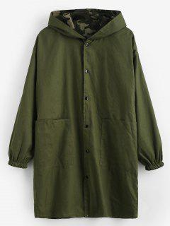 Camo Reversible Long Hooded Coat - Army Green L