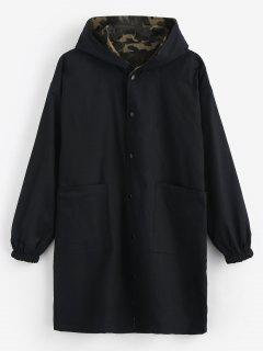 Manteau à Capuche Long Camouflage Réversible - Noir Xl