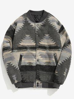 Geometric Pattern Padded Coat - Dark Gray Xl