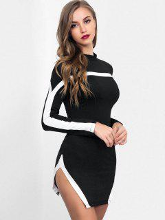 High Slit Striped Bodycon Dress - Black M