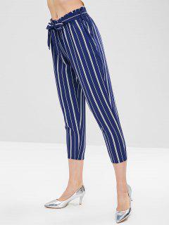 Stripe Belted Capri Pants - Cadetblue L