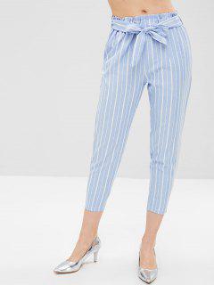 Stripe Belted Capri Pants - Light Blue L