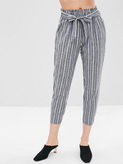 Stripe Belted Capri Pants - Dark Gray S