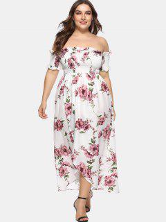 Vestido Largo Con Hombros Descubiertos Y Estampado Floral - Multicolor 4x