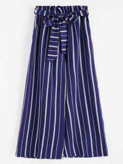 Wide Leg Belted Striped Pants - Deep Blue L