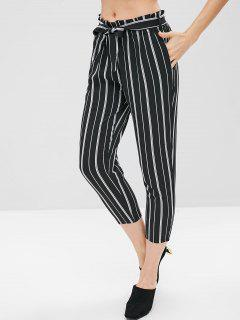 Stripe Belted Capri Pants - Black L
